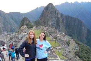 Katie and her sister looking fabulous at Machu Picchu, Peru
