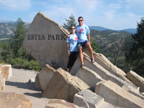David and Brittany hiking for Rachel at Estes Park, Colorado