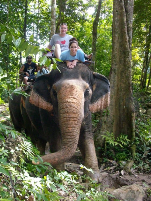 Running for Rachel with elephants in Thailand!